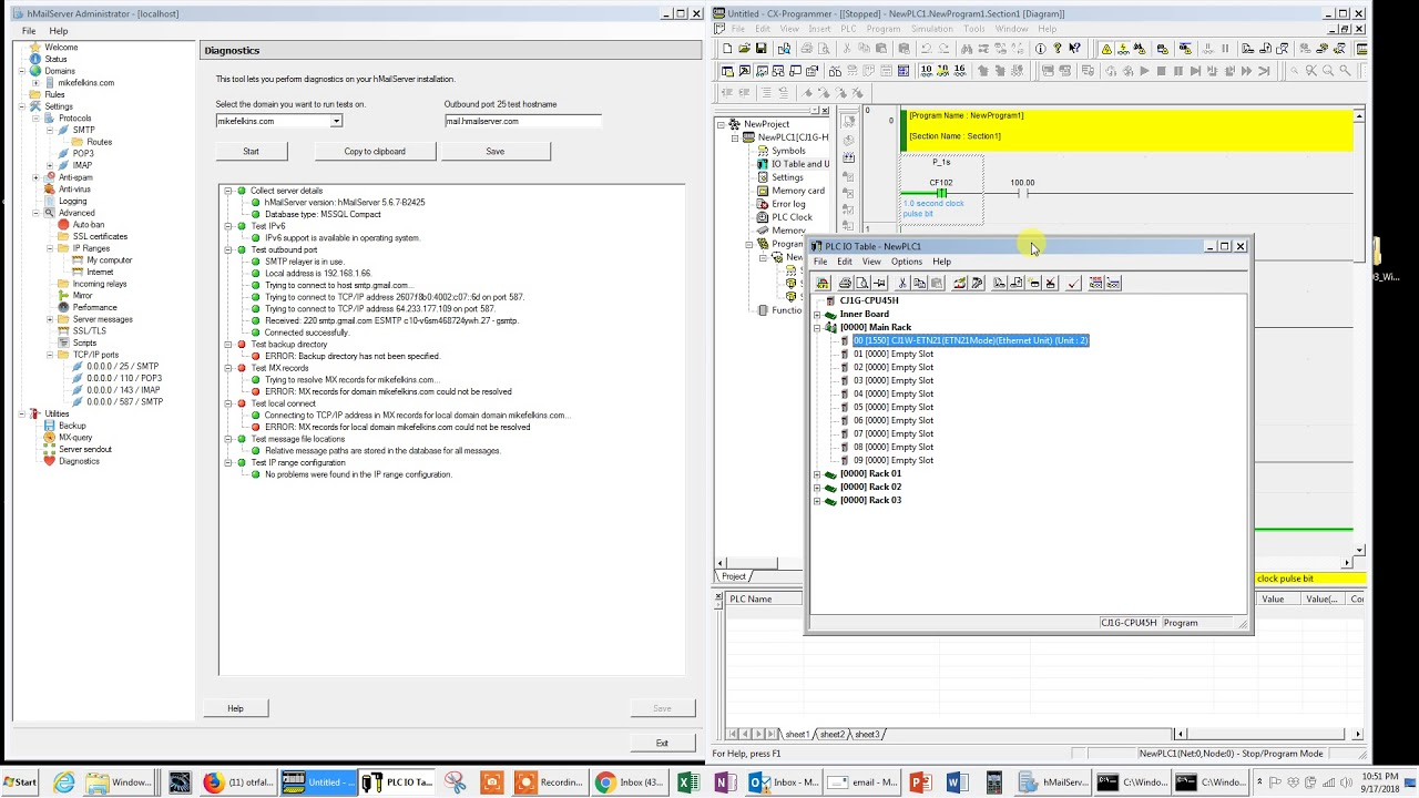 Email with Omron ETN21 through hMailServer to Gmail account for distribution