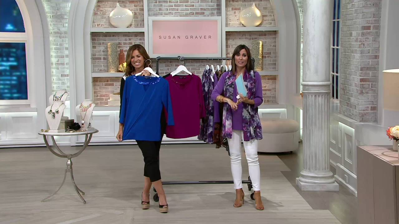 Susan Graver Artisan Liquid Knit Embellished Keyhole Top On Qvc
