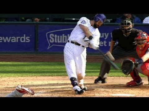 Helton uses hidden ball trick, hits homer