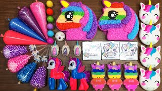 Making Slime with UNICORN PIPPING BAGS -Mixing Random into FOAM SLIME !Satisfying Slime video #802