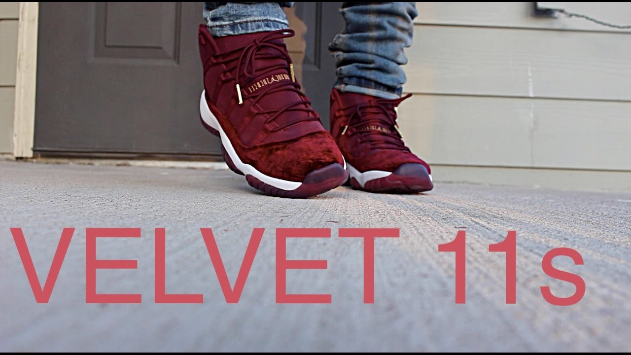 air jordan 11 heiress velvet on feety