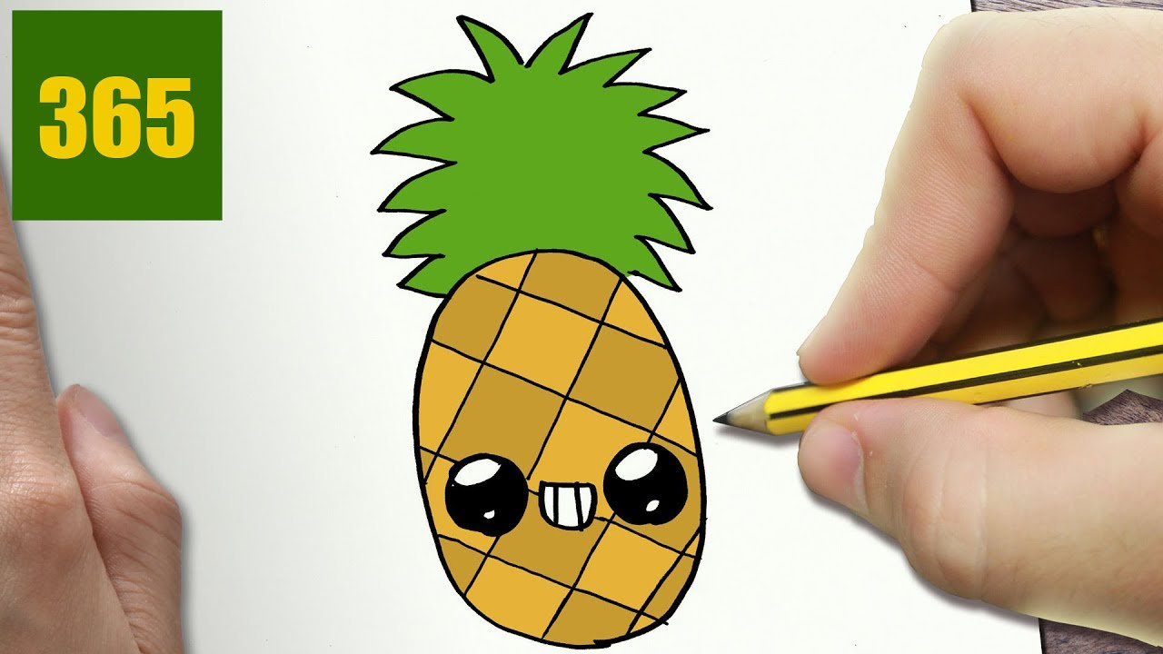 How To Draw A Pineapple Cute Easy Step By Step Drawing Lessons For