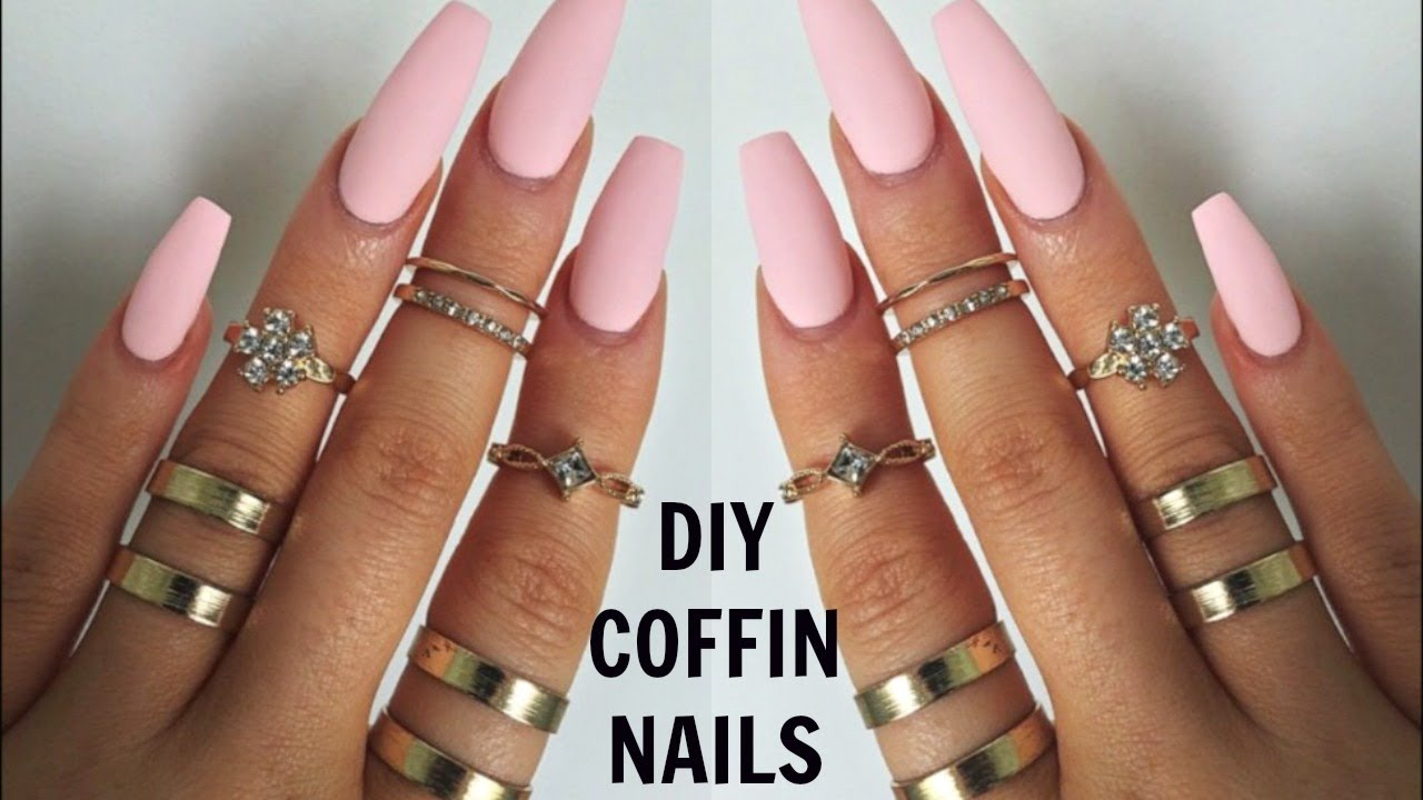 DIY PROFESSIONAL COFFIN NAILS $6 | EASY LONG LASTING NAILS AT HOME ...
