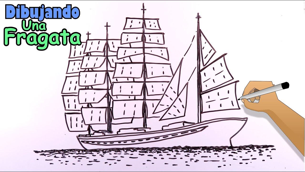Cómo dibujar barcos 2/8 - Un barco fragata del siglo XVII
