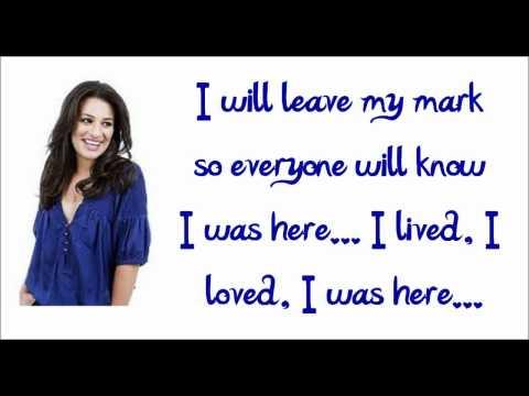 Glee - I Was Here (Lyrics) HD