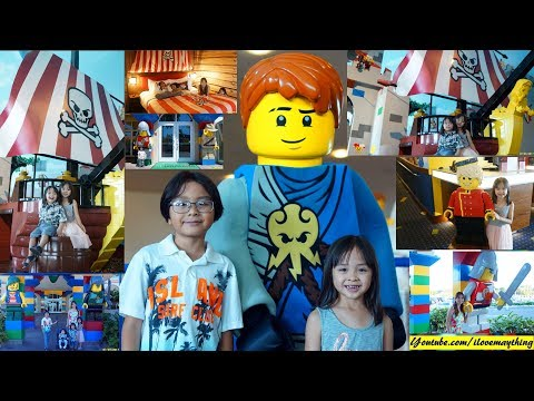 Legoland Theme Park Hotel. Family Amusement Theme Park Trip. Pirate Ship, Castle and More!