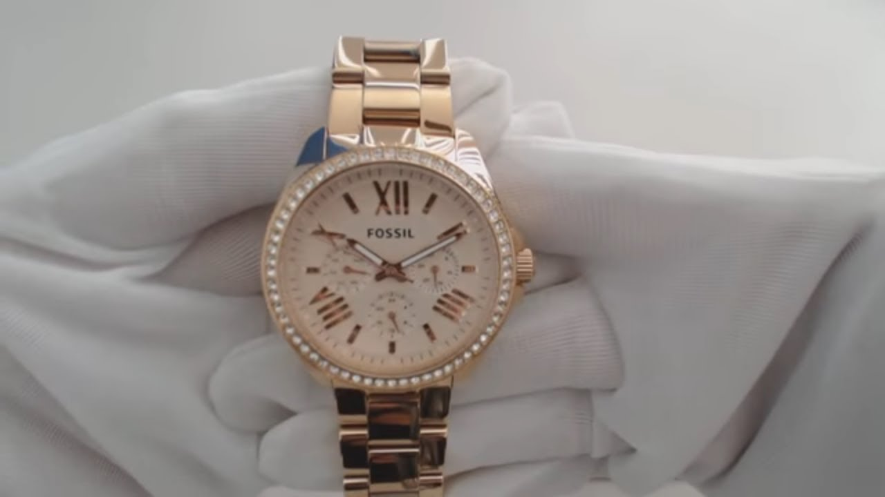 Women S Rose Gold Fossil Cecile Multi Function Watch Am4483 Youtube
