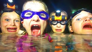 24 HOURS IN A POOL OVERNIGHT KIDS GAME MASTER USING UNDERWATER LIGHTS THEN SLEEPING IN THE POOL