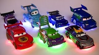 Light Up Deluxe Die-Cast Set Tuners DJ WIngo Lightning McQueen Mater Disney Pixar Cars Toons Toys