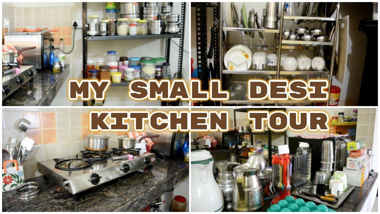My Small Indian kitchen tour in rented apartment Organising non modular  kitchen  PreetyIndanGal