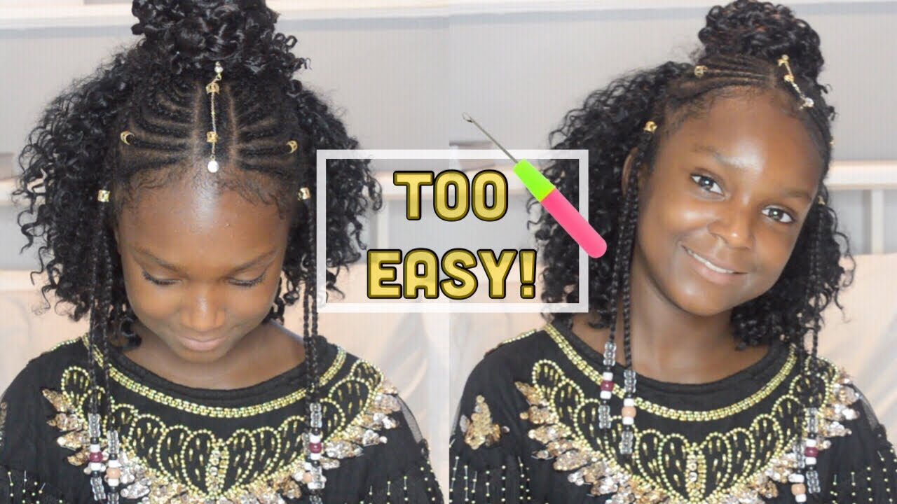 Tribal Half Up Half Down Crochet Braids & Beads | Children
