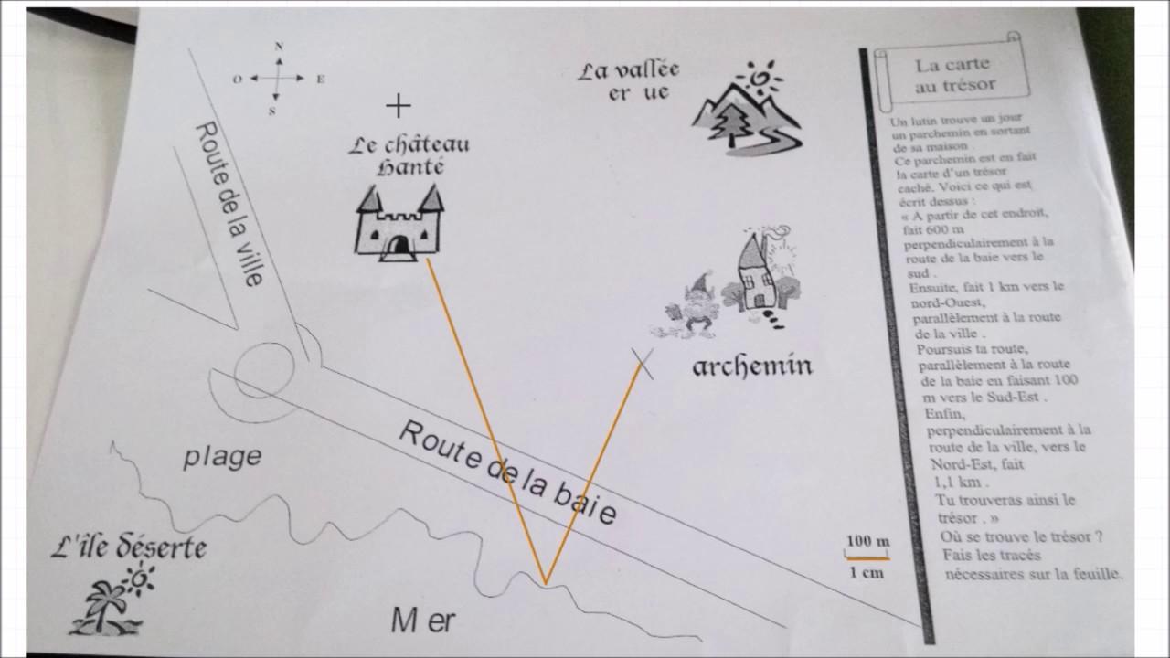 Carte Au Tresor Geometrie.Monplanmaths La Carte Au Tresor Parallele Et Perpendiculaire