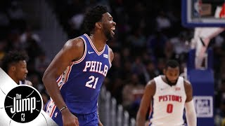 Should Joel Embiid be fined for outrageous flop on Andre Drummond? | The Jump