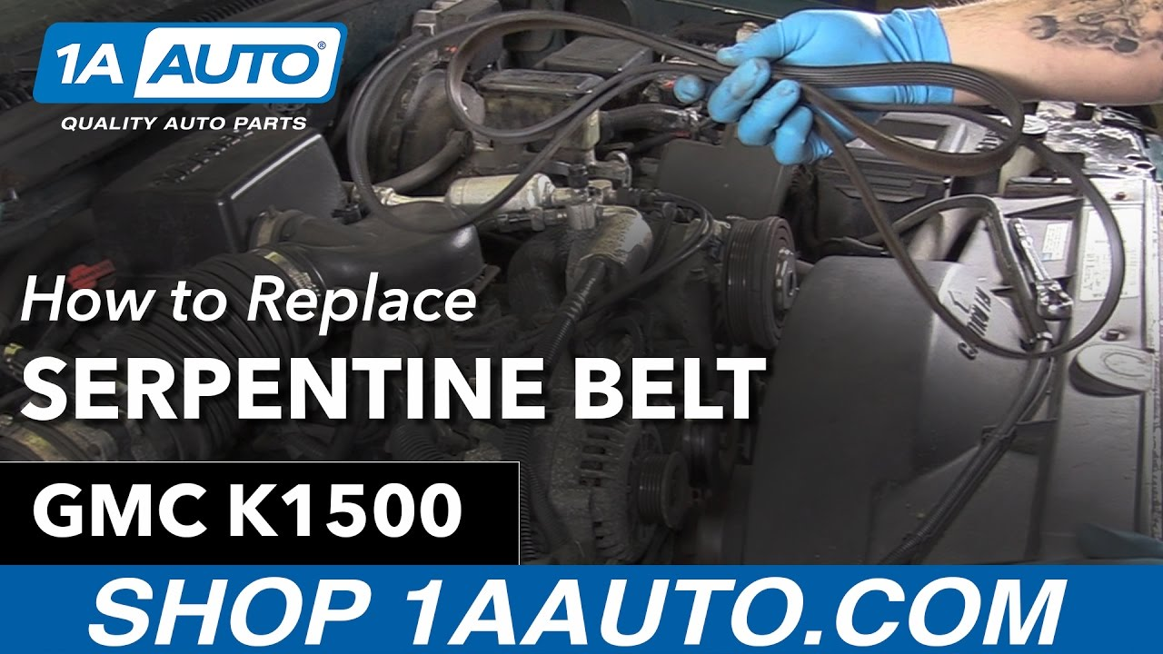 how to replace install serpentine belt 90 99 gmc sierra k1500 youtube rh youtube com