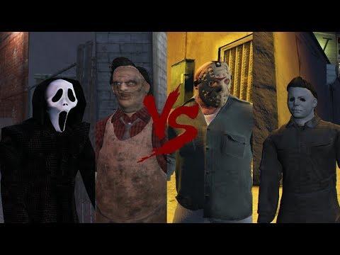 Ghostface \u0026 Leatherface VS Jason Voorhees \u0026 Michael Myers - Death Battle (GTA 5)