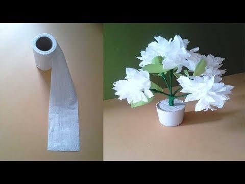 টিস্যু পেপার দিয়ে সুন্দর ফুলগাছ তৈরি ।। Diy Beautiful Flower Vase Using Tissue Papers - Craft Ideas