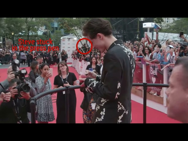 Actor Timothee Chalamet gives TIFF veteran Steve Russell a red carpet first.