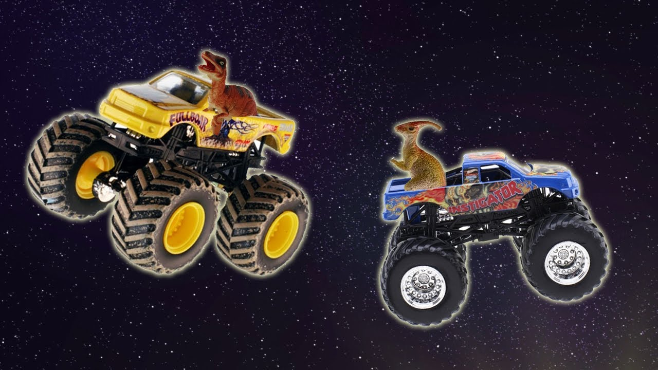 Dinosaur Toys Drive Toy Monster Trucks For Children In Space Toy Videos For Toddlers Youtube