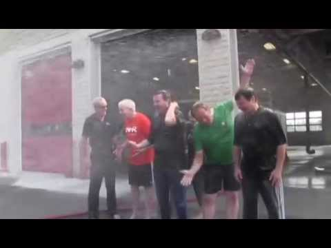 Mayor Michael Fougere takes the ALS Ice Bucket Challenge