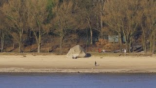 "Hamburg, Germany: Othmarschen, Strand, Findling (Boulder) ""Alter Schwede"" - 4K UHD Video Image"