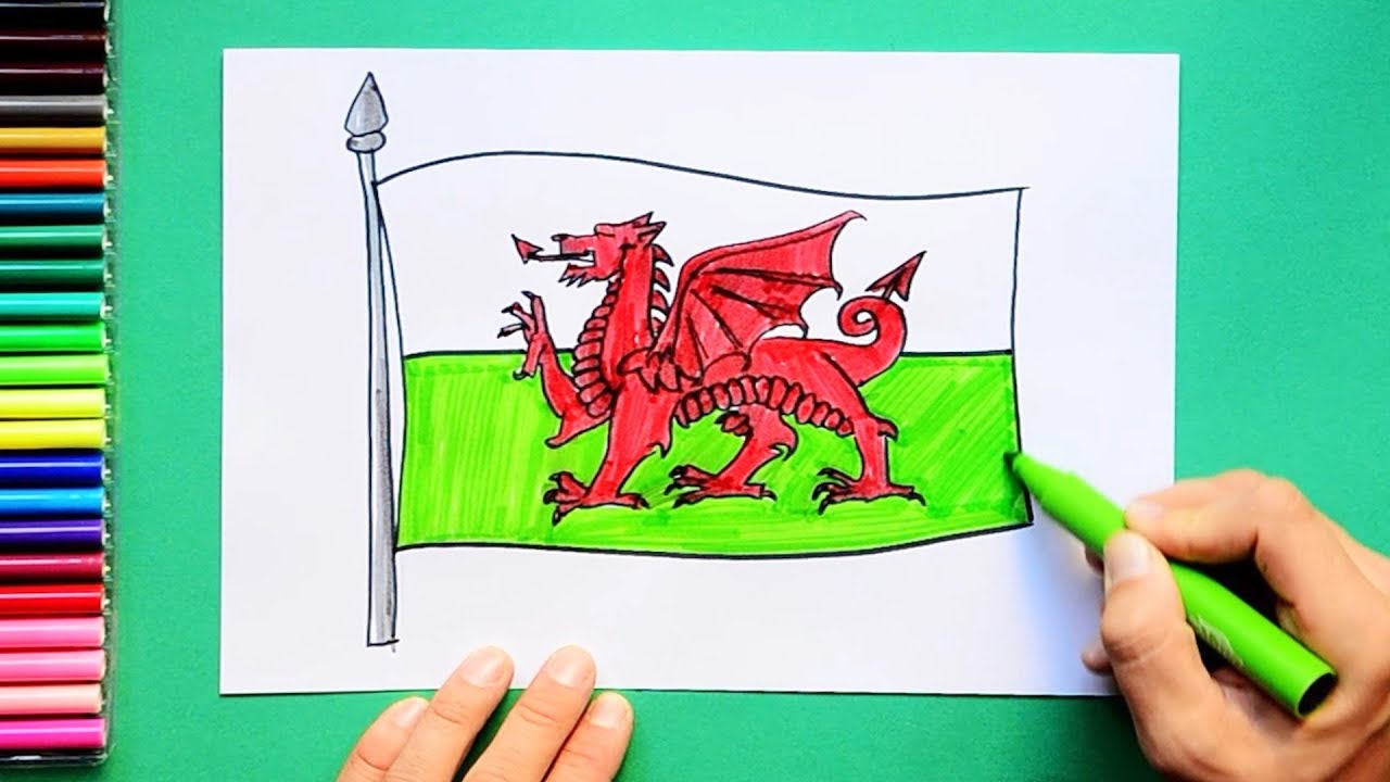 How to draw and color the Flag of Wales - YouTube