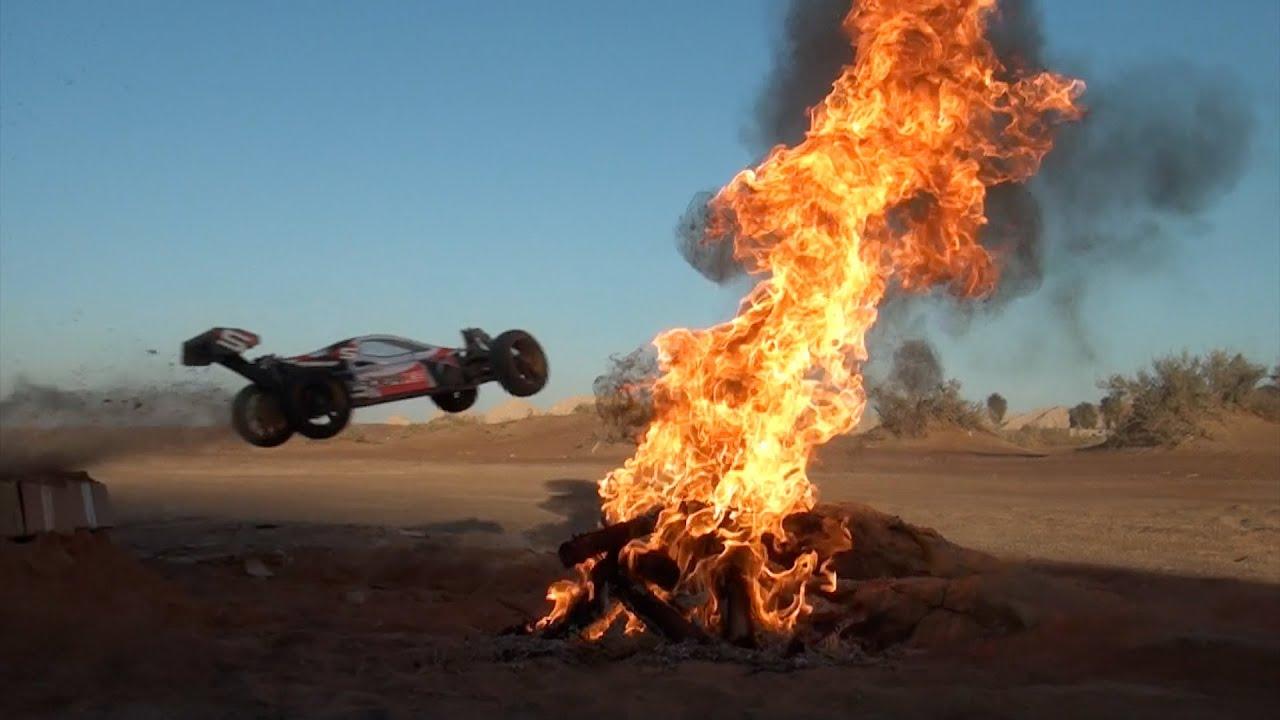RC Car Jumping Through FIRE Flames - Part 1 الضو لبق - YouTube