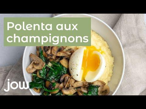 recette-polenta,-champignons-&-épinards