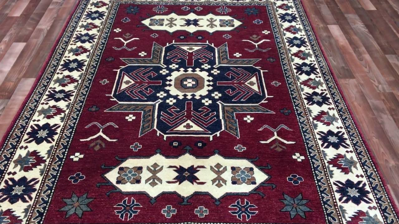 large beige red and blue kazak oriental rug 5 11x8 8 b 77275