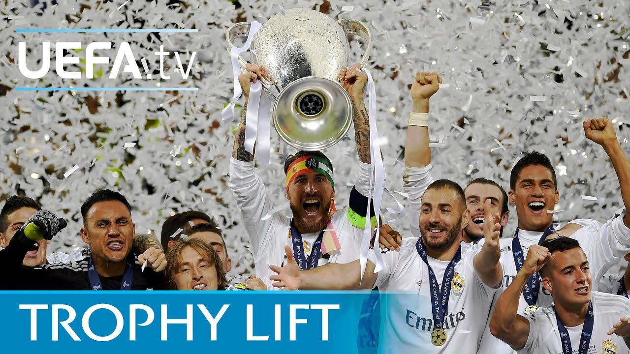 Real Madrid Lift UEFA Champions League Trophy