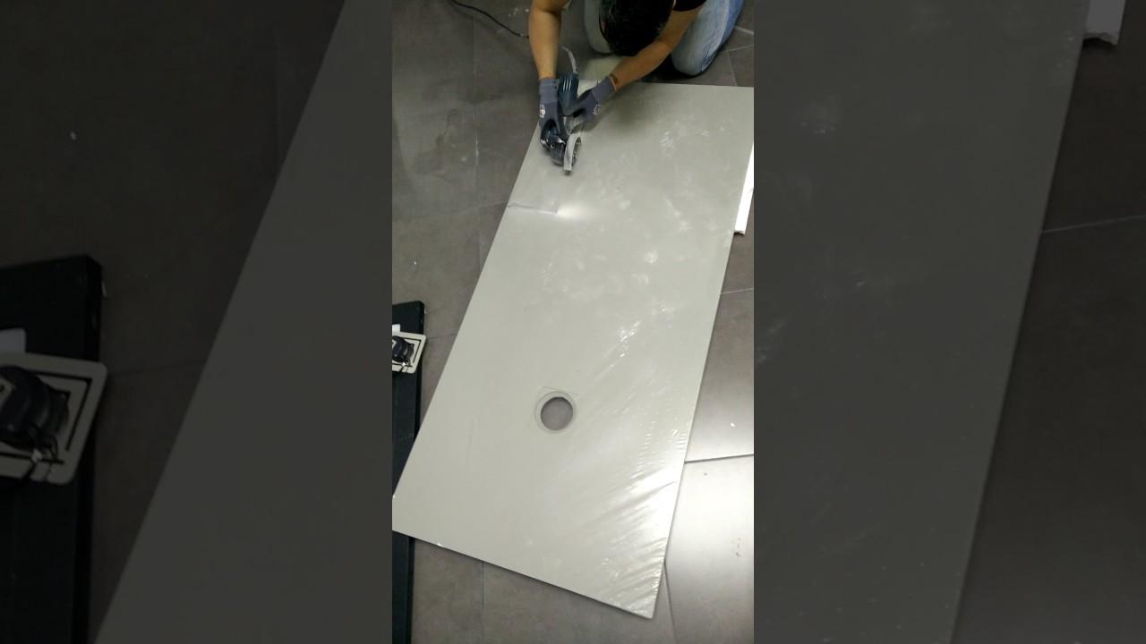 c mo cortar un plato de ducha de resina asealia youtube