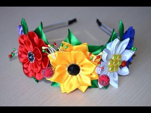 Большой Василек из атласной ленты / D.I.Y Large Cornflower of satin ribbons