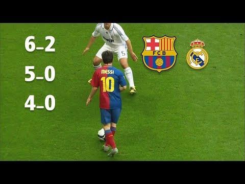 3 مرات برشلونة يدمر ريال مدريد في وجود وفي غياب ميسي