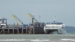 A Catamaran Docking at Ryde Pier - Isle of Wight