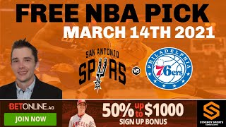 San Antonio Spurs v Phillidelphia 76ers 03/14/21 - Free NBA sportsbetting prediction advice