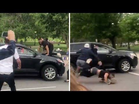 Shocking moment car runs over protester at George Floyd demonstration in Denver from YouTube · Duration:  41 seconds