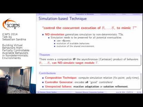 "ICAPS 2014: Sebastian Sardina on ""Building Virtual Behaviors from Partially Controllable ..."""