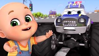 Monster Trucks, Police car chase | Cartoon Animation For Children | 3D BABY SONGS
