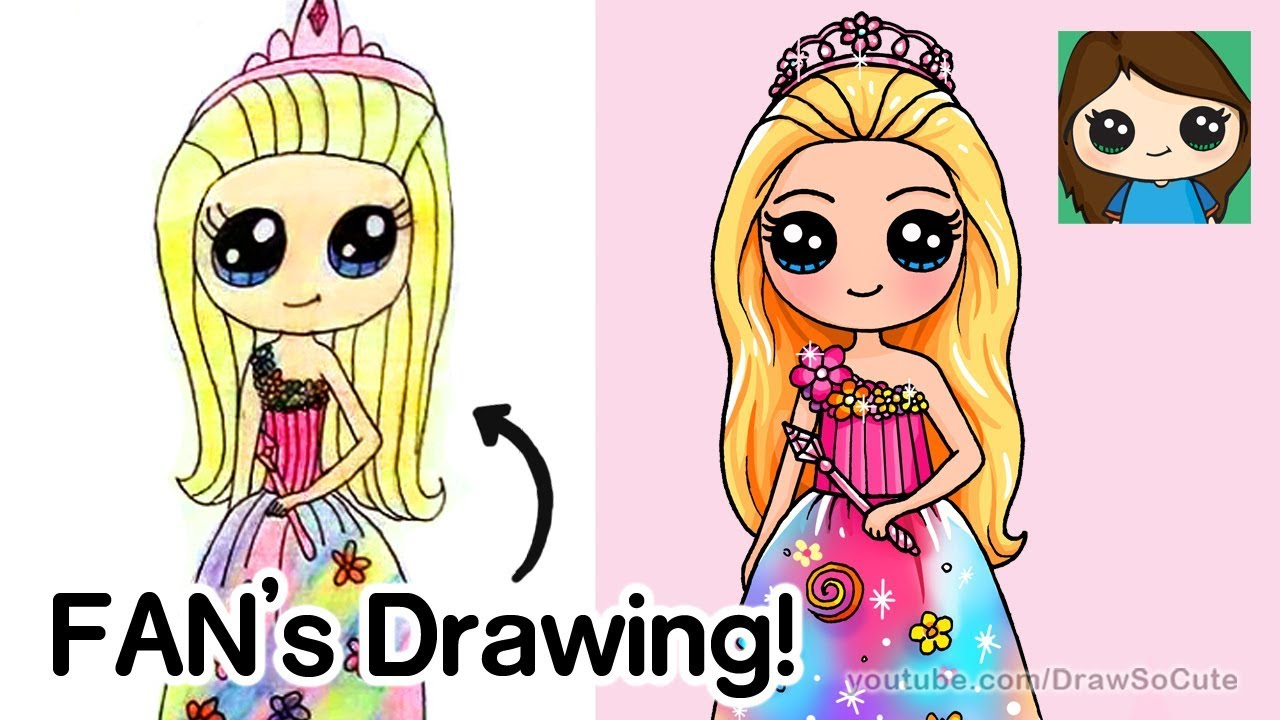 Drawing A Fan S Drawing Barbie Princess Youtube