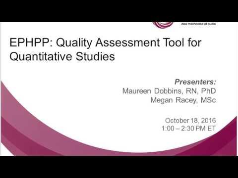 NCCMT Spotlight Webinar: EPHPP: Quality Assessment Tool for Quantitative Studies