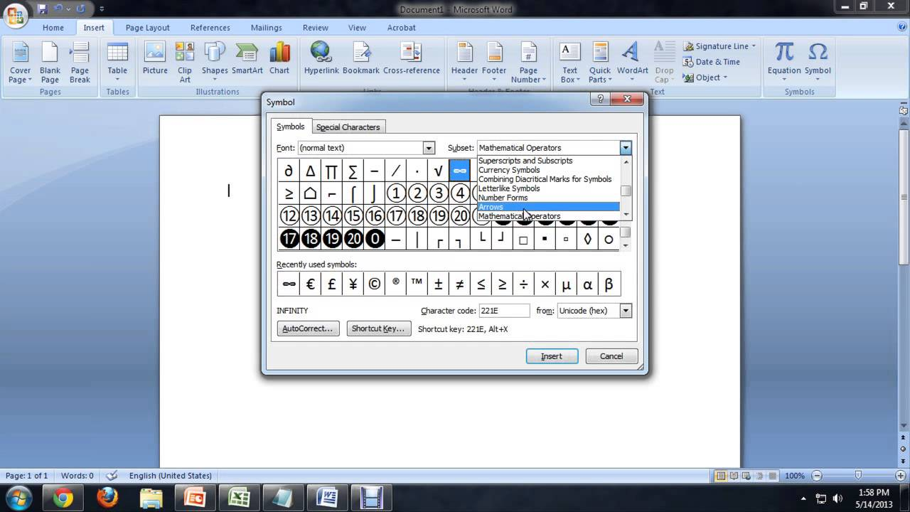 How To Insert All The Mathematical Symbols In Microsoft Word Tech