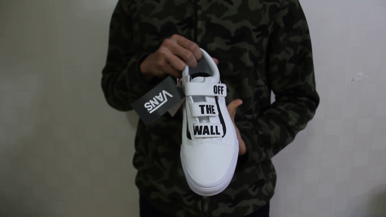 290c7ae8110 VANS OLDSKOOL VELCRO OFF THE WALL WHITE REVIEW INDONESIA - YouTube