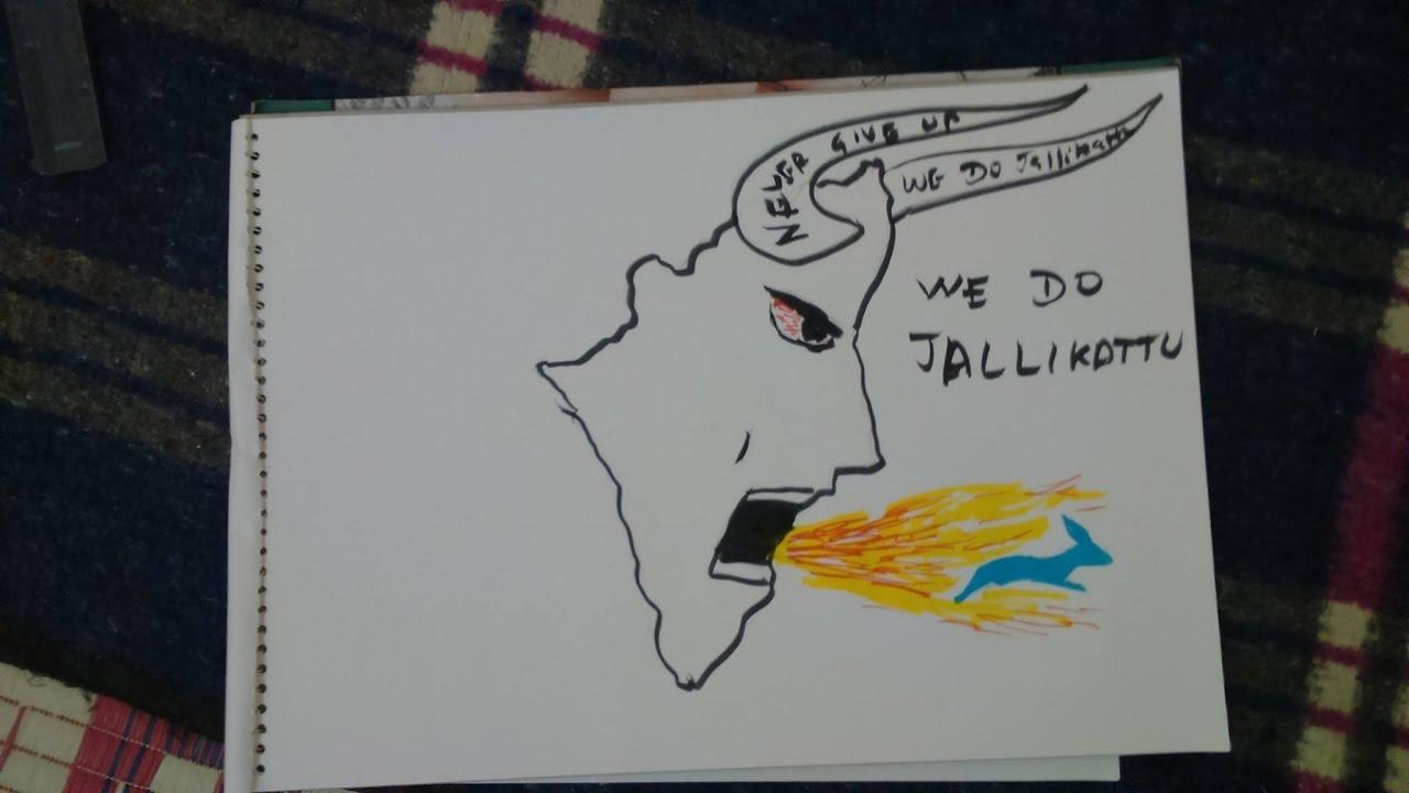 We Do Jallikattu Never Give Up Jallikattu Drawing Youtube