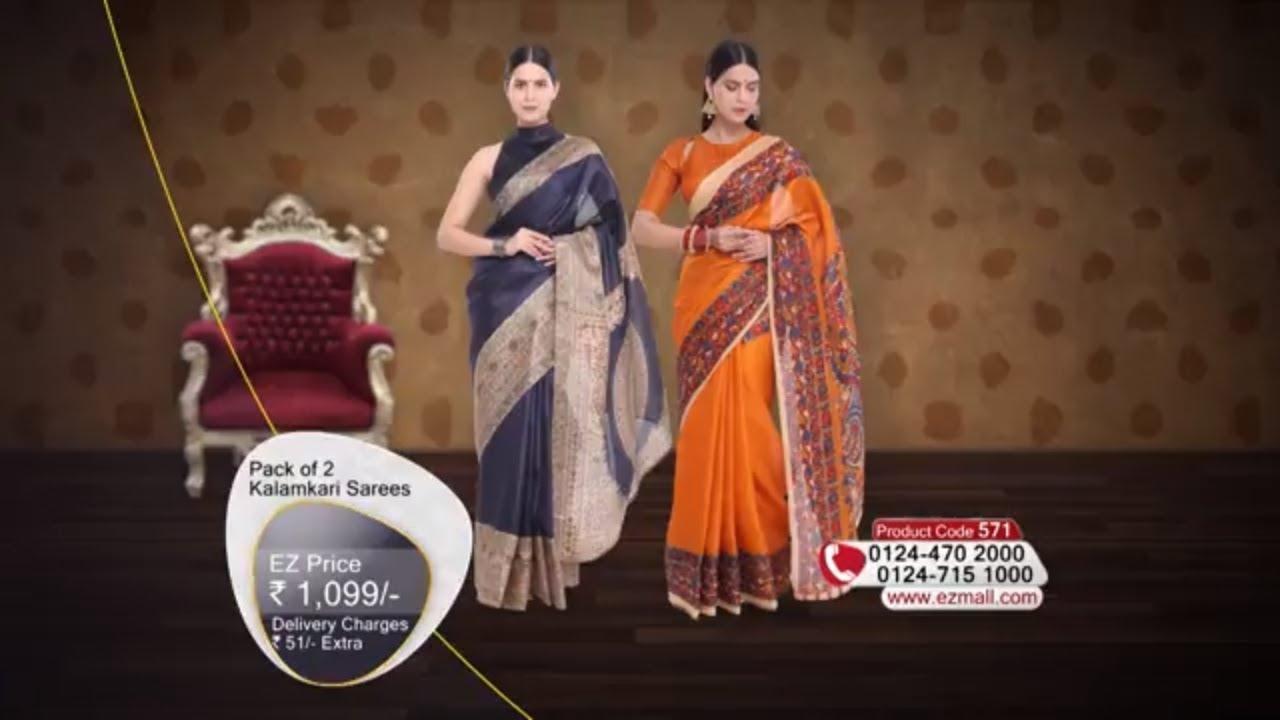 6c5e5ca738 Pack of 2 Kalamkari Sarees - YouTube