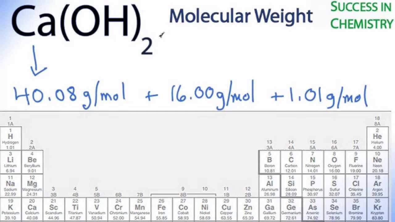 Molar mass molecular weight of caoh2 calcium hydroxide youtube gamestrikefo Choice Image