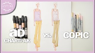 How to color with markers | COPIC vs. AD CHARTPAK | Fashion Drawing | Justine Leconte