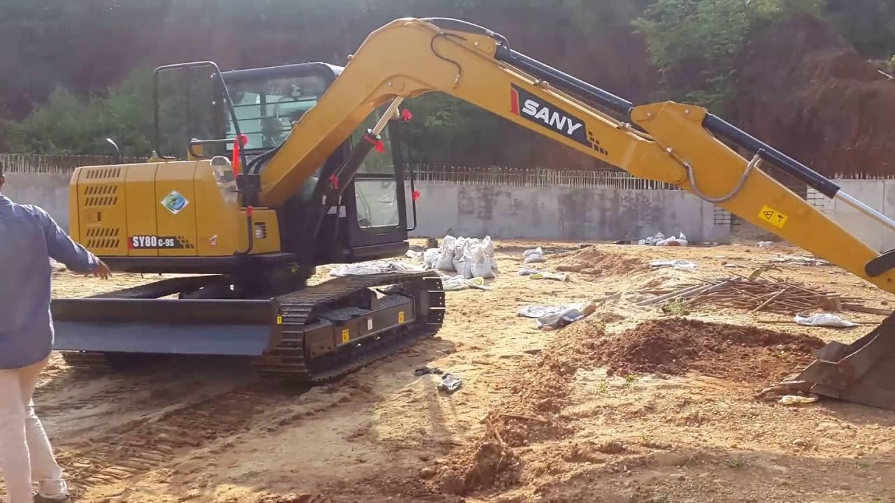 New Sany SY80 C-9 excavator working