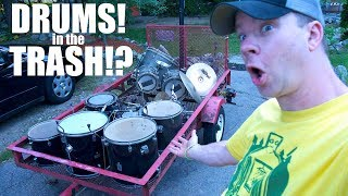 """TWO Drum Sets found in the TRASH! """"CRASH (cymbals) to CASH!"""""""