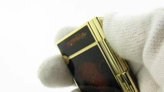 Rare S. T. Dupont Ligne/Line Gatsby Gold Dust Lacquer Gas Lighter Ping Sound & Presentation 90's