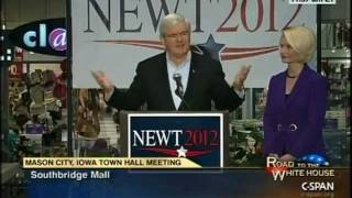 Newt In Iowa Town Hall Talks of Jobs and Answers Questions