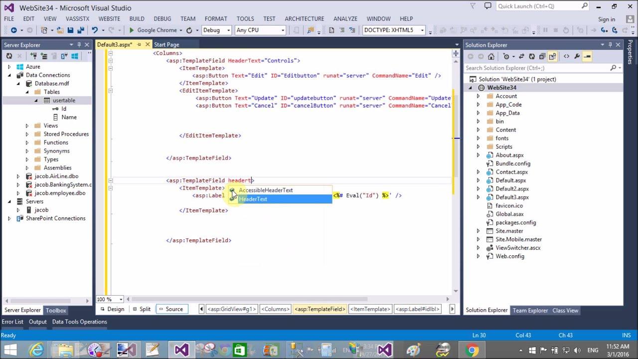 Edit update GridView Row in ASP NET C# Part-1